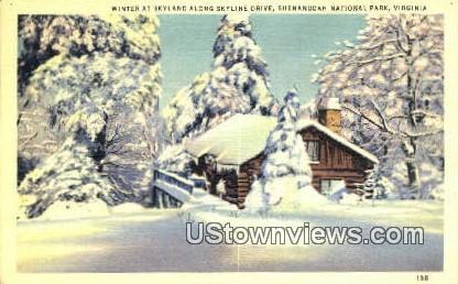 Winter Sky Land Along Skyline Drive  - Shenandoah National Park, Virginia VA Postcard
