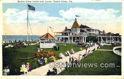 Hotel And Lawn  - Ocean View, Virginia VA Postcard