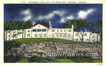 Governor Tyler Hotel By Moonlight  - Radford, Virginia VA Postcard