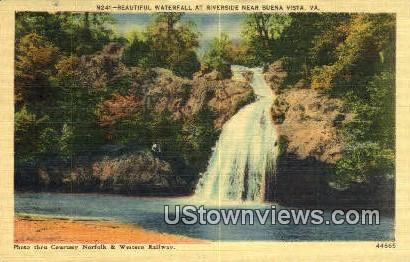 Waterfall At River Side  - Buena Vista, Virginia VA Postcard