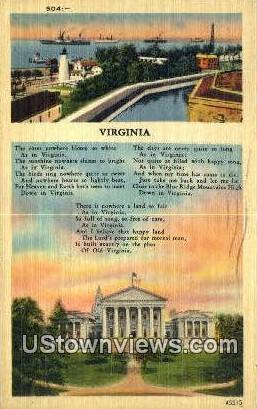 Greetings from Virginia, Virginia, VA, - Greetings from Virginia Postcards Postcard