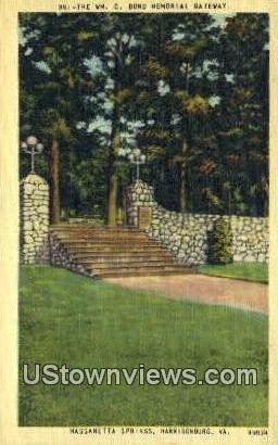 The Wm Bond Memorial Gateway - Massanetta Springs, Virginia VA Postcard