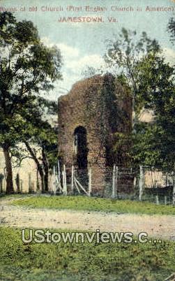 Ruins Of Old Church  - Jamestown, Virginia VA Postcard