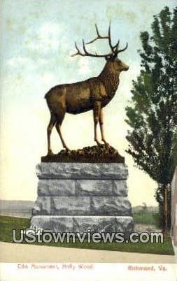 Elks Monument  - Richmond, Virginia VA Postcard
