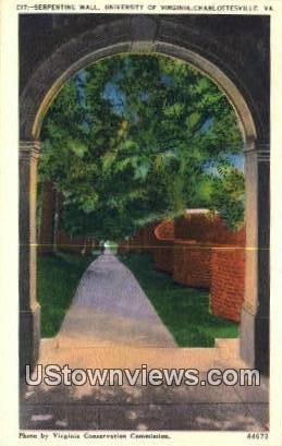 Serpentine Wall  - Charlottesville, Virginia VA Postcard