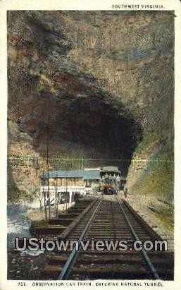 Observation Car Train  - Natural Tunnel, Virginia VA Postcard