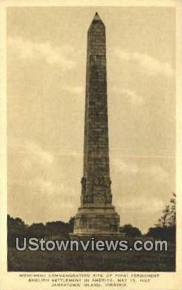 First English Settlement In America  - Jamestown Island, Virginia VA Postcard