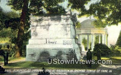 Monument To Unknown Dead  - Arlington, Virginia VA Postcard