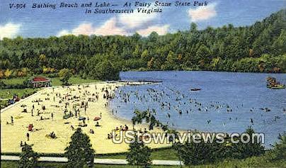 Bathing Beach  - Fairy Stone State Park, Virginia VA Postcard