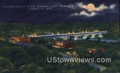 New Memorial Bridge  - Radford, Virginia VA Postcard