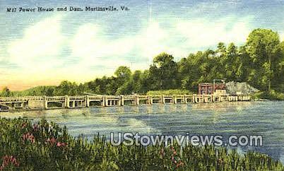 Power House And Dam  - Martinsville, Virginia VA Postcard