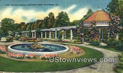 The Italian Garden Maymont Park  - Richmond, Virginia VA Postcard