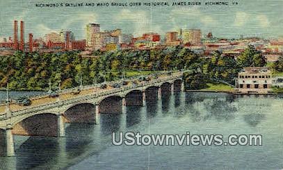 Mayo Bridge  - Richmond, Virginia VA Postcard