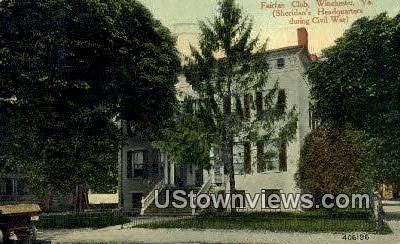 Fairfax Club  - Winchester, Virginia VA Postcard