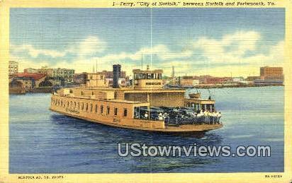Ferry City Of Norfolk - Portsmouth, Virginia VA Postcard
