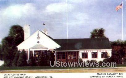 Evans Coffee Shop  - Arlington, Virginia VA Postcard