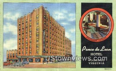 Pance De Leon Hotel  - Roanoke, Virginia VA Postcard