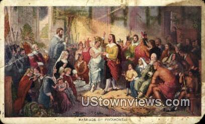 Marriage Of Pocahontas  - Misc, Virginia VA Postcard