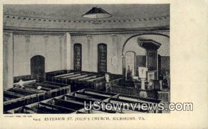 Interior St Johns Church  - Richmond, Virginia VA Postcard