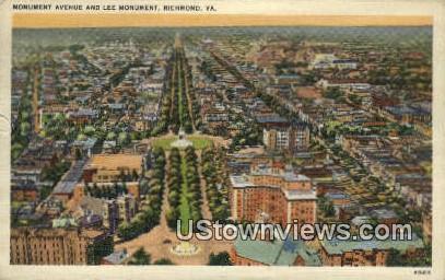 Monument Avenue & Lee Monument  - Richmond, Virginia VA Postcard