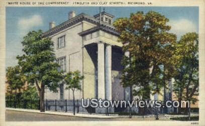 White House Of The Confederacy  - Richmond, Virginia VA Postcard