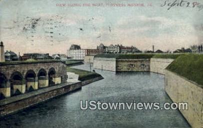 View Along The Moat  - Fortress Monroe, Virginia VA Postcard