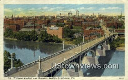 Williams Viaduct & Business Section  - Lynchburg, Virginia VA Postcard