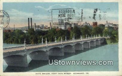 Mayo Bridge Over James River  - Richmond, Virginia VA Postcard