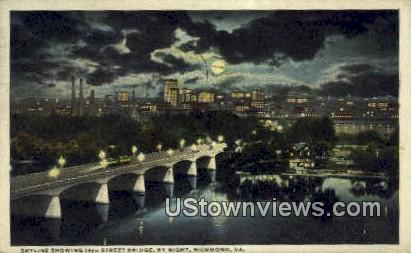 14 Street Bridge By Night  - Richmond, Virginia VA Postcard