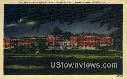 Mens Dormitories At Night  - Charlottesville, Virginia VA Postcard