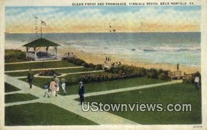 Ocean Front And Promenade  - Virginia Beach Postcards, Virginia VA Postcard