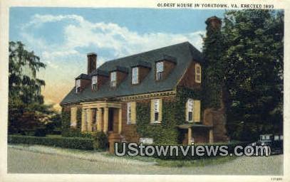 Oldest House - Yorktown, Virginia VA Postcard