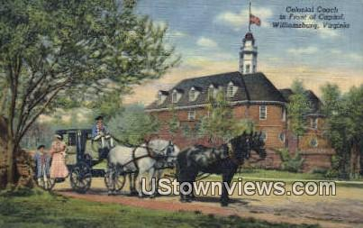 Colonial Coach In Front Of Capitol  - Williamsburg, Virginia VA Postcard