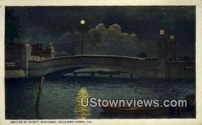 Bridge By Night  - National Soldiers Home, Virginia VA Postcard