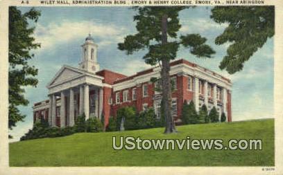 Wiley Hall Administration Building  - Abingdon, Virginia VA Postcard