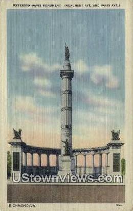 Jefferson Davis Monument  - Richmond, Virginia VA Postcard