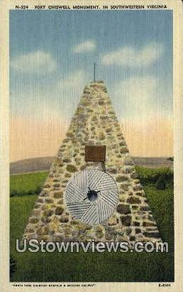 Fort Chiswell monument  - Wytheville, Virginia VA Postcard