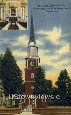 West End Baptist Church  - Suffolk, Virginia VA Postcard