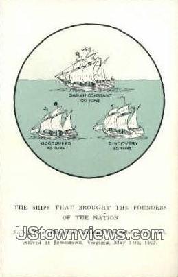 Ships Brought The Founders of Nation  - Jamestown, Virginia VA Postcard