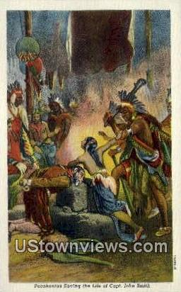 Pocahontas Saving Captain Smith Life  - Jamestown Island, Virginia VA Postcard