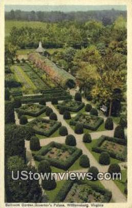 Ballroom Garden Governors Palace  - Williamsburg, Virginia VA Postcard