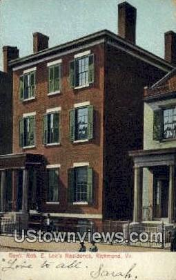 General Robert E Lee Residence  - Richmond, Virginia VA Postcard