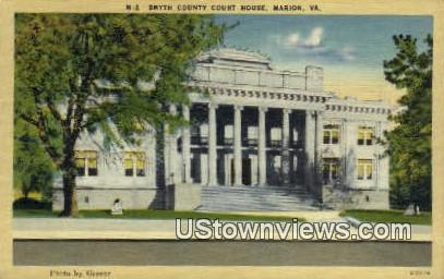Smyth County Court House  - Marion, Virginia VA Postcard