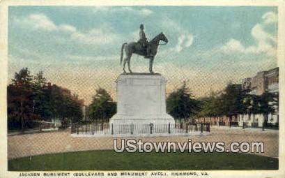 Jackson Monument  - Richmond, Virginia VA Postcard