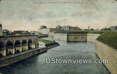 Along The Moat  - Fortress Monroe, Virginia VA Postcard