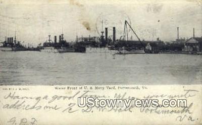 Water Front US Navy Yard  - Portsmouth, Virginia VA Postcard