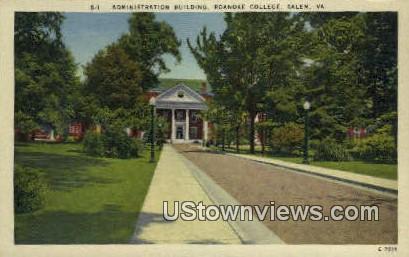 Admin Building Roanoke College  - Salem, Virginia VA Postcard