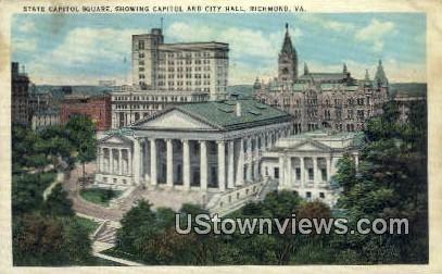 State Capitol Square, Capitol - Richmond, Virginia VA Postcard