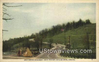 Spotswood Monument Swift Run Gap  - Skyline Drive, Virginia VA Postcard