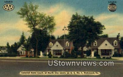 Colonial Hotel Court  - Richmond, Virginia VA Postcard